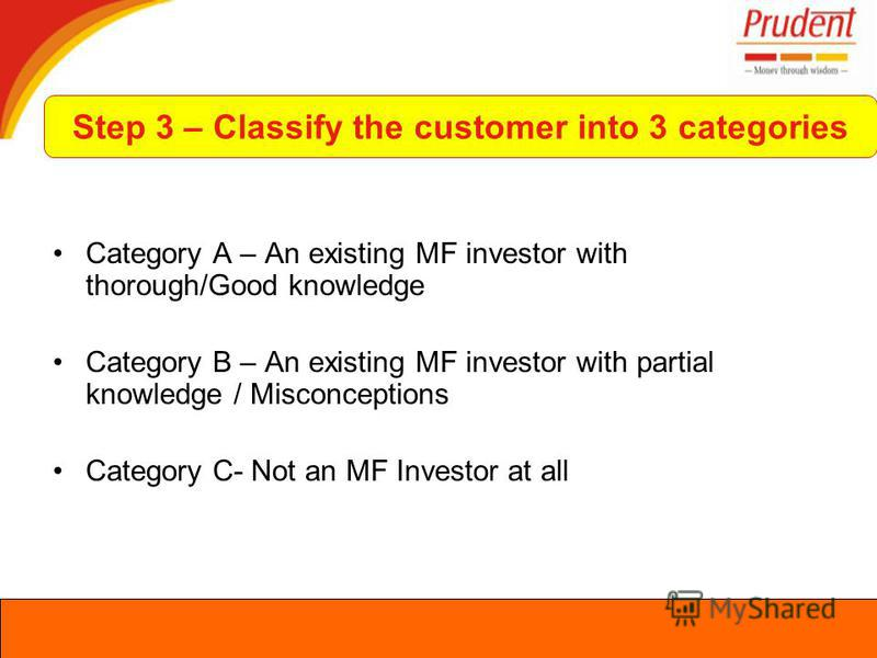 Category A – An existing MF investor with thorough/Good knowledge Category B – An existing MF investor with partial knowledge / Misconceptions Category C- Not an MF Investor at all Step 3 – Classify the customer into 3 categories