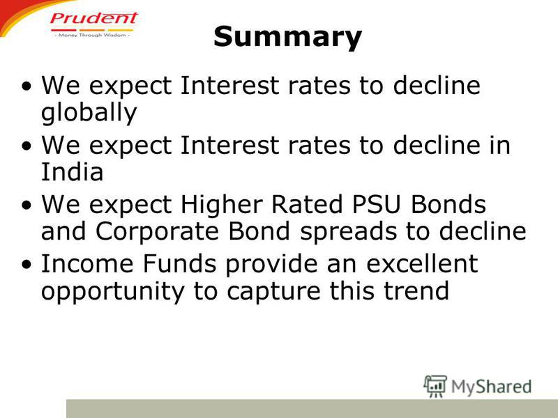 Summary We expect Interest rates to decline globally We expect Interest rates to decline in India We expect Higher Rated PSU Bonds and Corporate Bond spreads to decline Income Funds provide an excellent opportunity to capture this trend