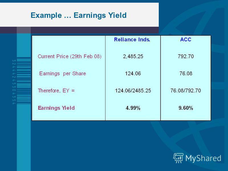 Example … Earnings Yield