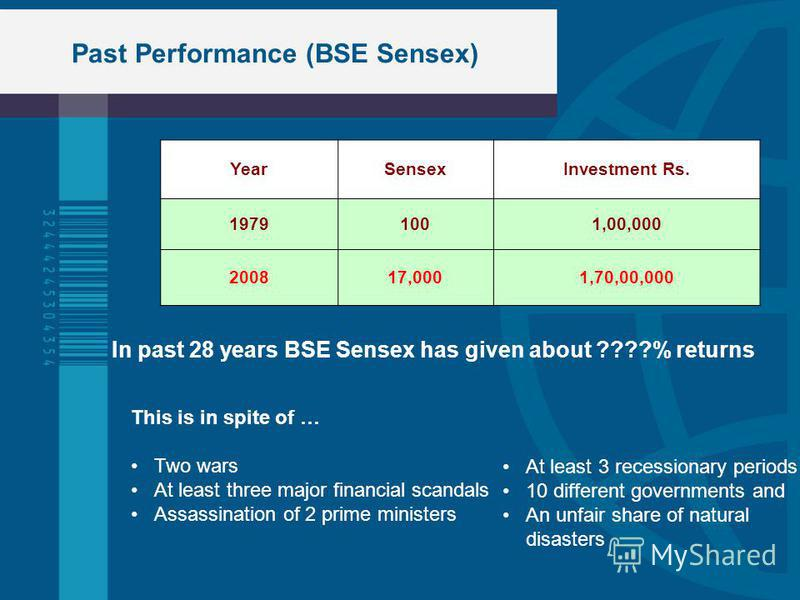 Past Performance (BSE Sensex) YearSensexInvestment Rs. 19791001,00,000 200817,0001,70,00,000 In past 28 years BSE Sensex has given about ????% returns This is in spite of … Two wars At least three major financial scandals Assassination of 2 prime min