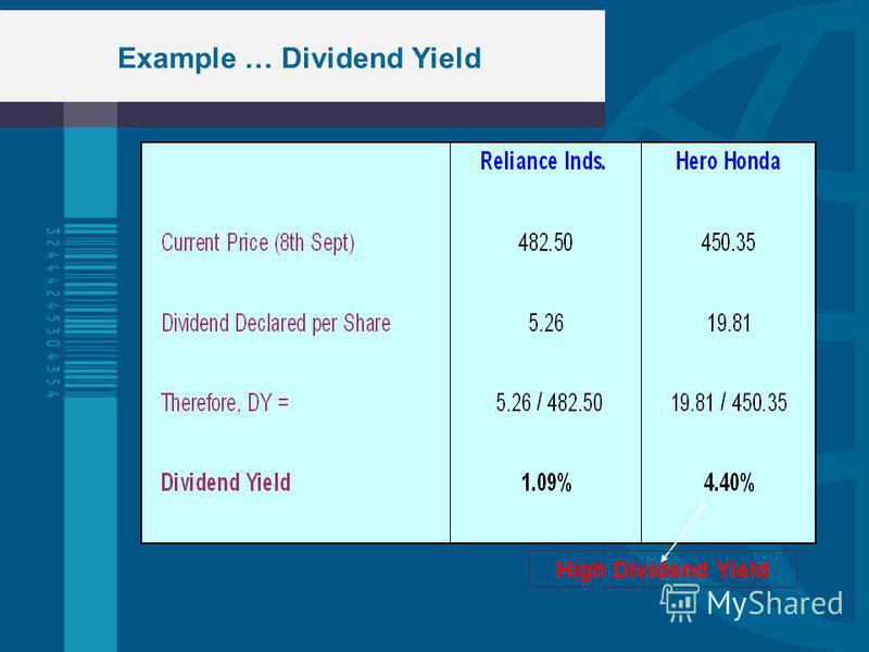 Example … Dividend Yield High Dividend Yield