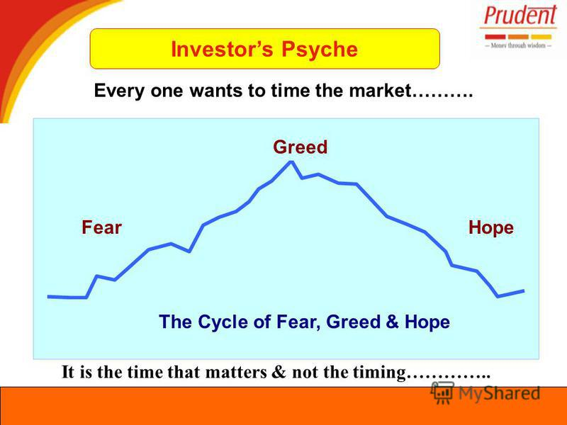 Every one wants to time the market………. FearHope The Cycle of Fear, Greed & Hope Greed It is the time that matters & not the timing………….. Investors Psyche