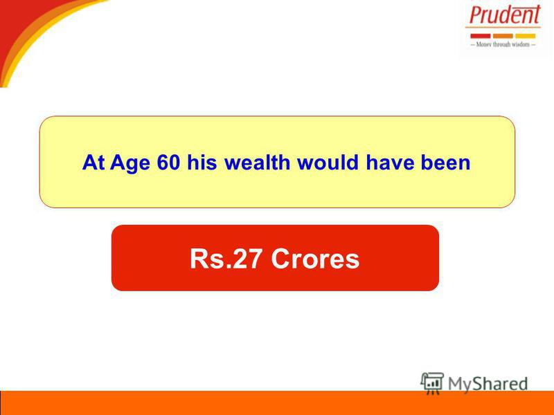 At Age 60 his wealth would have been Rs.27 Crores