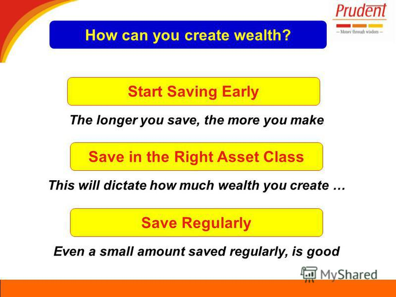 Start Saving Early The longer you save, the more you make Save in the Right Asset Class This will dictate how much wealth you create … Save Regularly Even a small amount saved regularly, is good How can you create wealth?