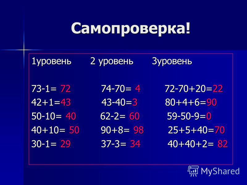 Самопроверка! 1 уровень 2 уровень 3 уровень 73-1= 72 74-70= 4 72-70+20=22 42+1=43 43-40=3 80+4+6=90 50-10= 40 62-2= 60 59-50-9=0 40+10= 50 90+8= 98 25+5+40=70 30-1= 29 37-3= 34 40+40+2= 82
