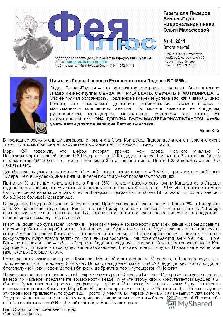 Газета для Лидеров Бизнес-Групп Национальной Линии Ольги Малафеевой 4. 2011 ( итоги марта ) Адрес для Корреспонденции: г.Санкт-Петербург, 199397, а/я 555 e-mail: malafeeva@etelecom.spb.rumalafeeva@etelecom.spb.ru Мобильный тел.Малафеевой Ольги : 8-91