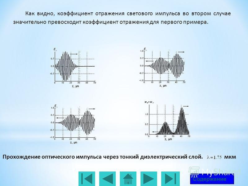 Прохождение оптического импульса через тонкий диэлектрический слой. мкм Содержание Как видно, коэффициент отражения светового импульса во втором случае значительно превосходит коэффициент отражения для первого примера.