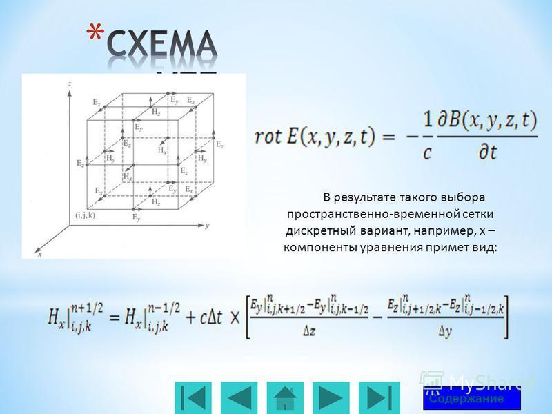 В результате такого выбора пространственно-временной сетки дискретный вариант, например, х – компоненты уравнения примет вид: Содержание