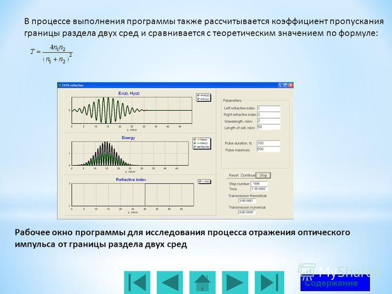Рабочее окно программы для исследования процесса отражения оптического импульса от границы раздела двух сред Содержание В процессе выполнения программы также рассчитывается коэффициент пропускания границы раздела двух сред и сравнивается с теоретичес