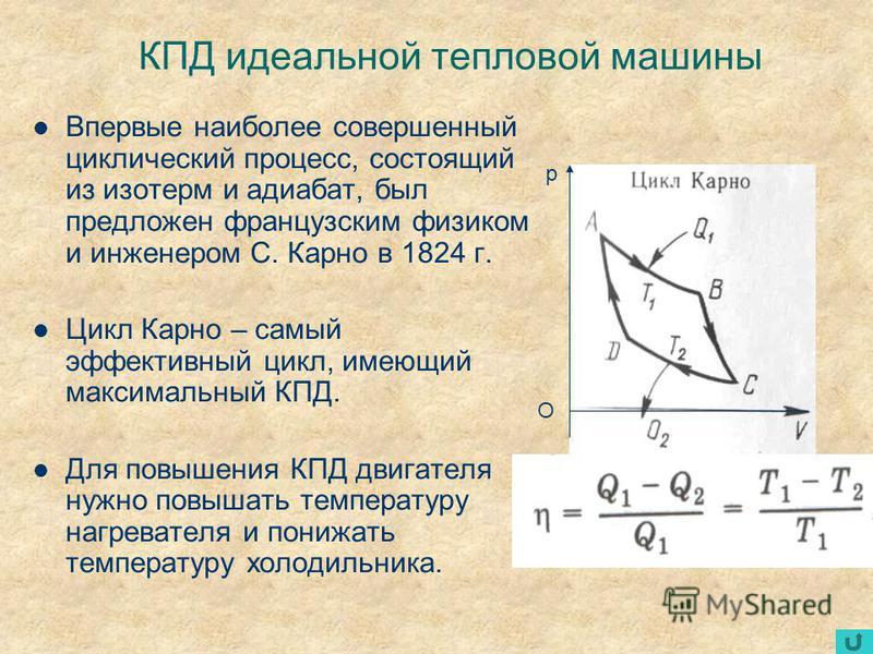 КПД идеальной тепловой машины Впервые наиболее совершенный циклический процесс, состоящий из изотерм и адиабат, был предложен французским физиком и инженером С. Карно в 1824 г. Цикл Карно – самый эффективный цикл, имеющий максимальный КПД. Для повыше