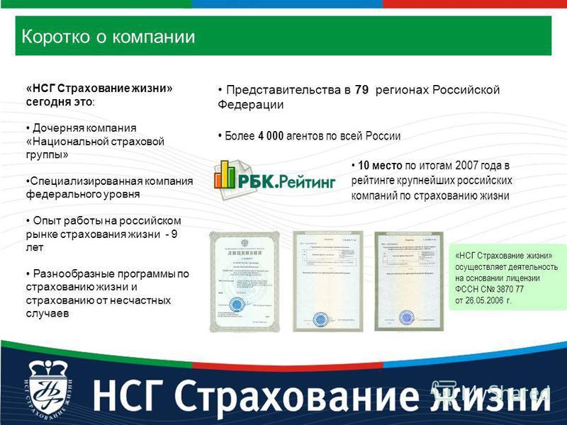 Коротко о компании «НСГ Страхование жизни» сегодня это: Дочерняя компания «Национальной страховой группы» Специализированная компания федерального уровня Опыт работы на российском рынке страхования жизни - 9 лет Разнообразные программы по страхованию