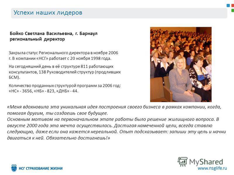 Успехи наших лидеров Бойко Светлана Васильевна, г. Барнаул региональный директор Закрыла статус Регионального директора в ноябре 2006 г. В компании «НСГ» работает с 20 ноября 1998 года. На сегодняшний день в её структуре 811 работающих консультантов,