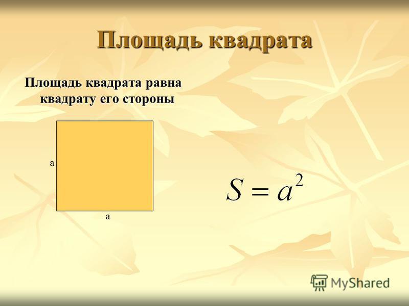 Площадь квадрата Площадь квадрата равна квадрату его стороны a a
