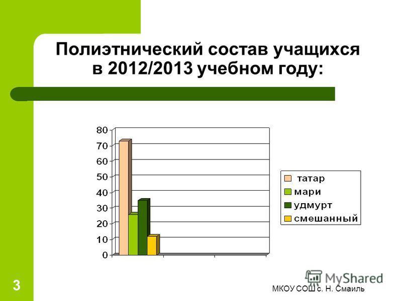 Полиэтнический состав учащихся в 2012/2013 учебном году: 3 МКОУ СОШ с. Н. Смаиль