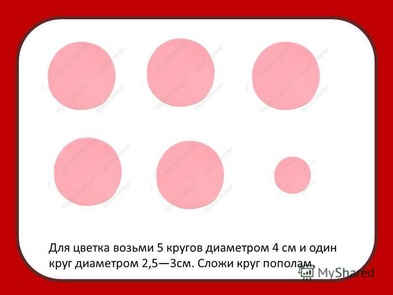 Для цветка возьми 5 кругов диаметром 4 см и один круг диаметром 2,53 см. Сложи круг пополам.