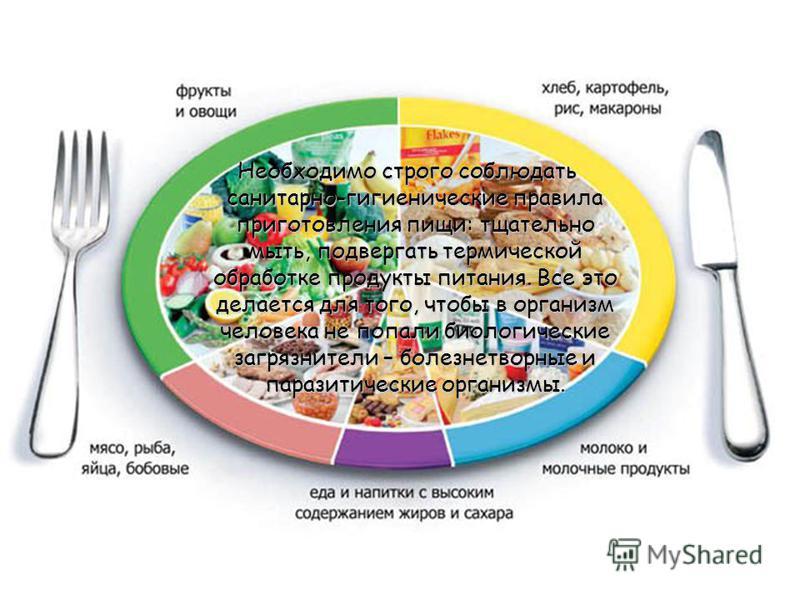 Необходимо строго соблюдать санитарно-гигиенические правила приготовления пищи: тщательно мыть, подвергать термической обработке продукты питания. Все это делается для того, чтобы в организм человека не попали биологические загрязнители – болезнетвор