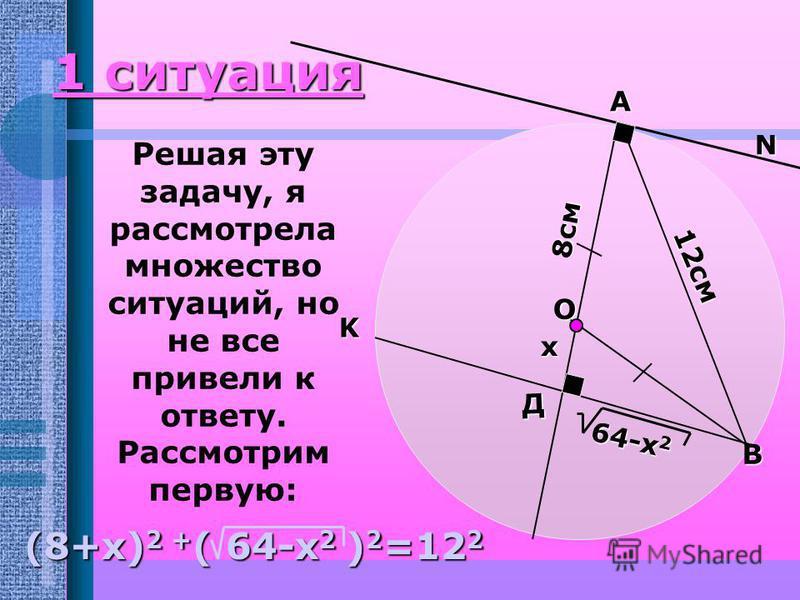 А K N В Построение чертежа: Проведем касательную из точки А и хорду из точки В, параллельную ей