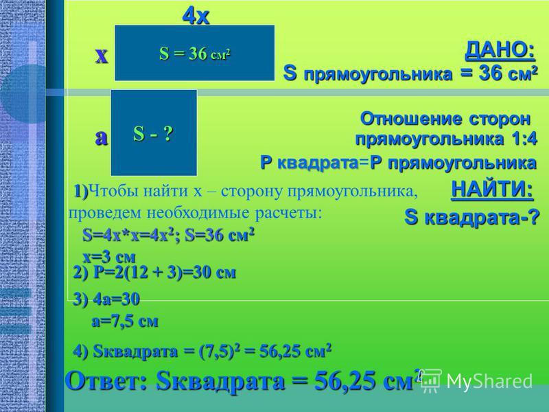 Условие задачи: 5. 5. Площадь прямоугольника равна 36 см 2, а отношение его сторон 1:4. Найдите площадь квадрата, периметр которого равен периметру прямоугольника.