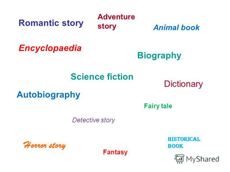Romantic story Biography Fairy tale Detective story Horror story Science fiction Historical book Fantasy Adventure story Encyclopaedia Animal book Dictionary Autobiography