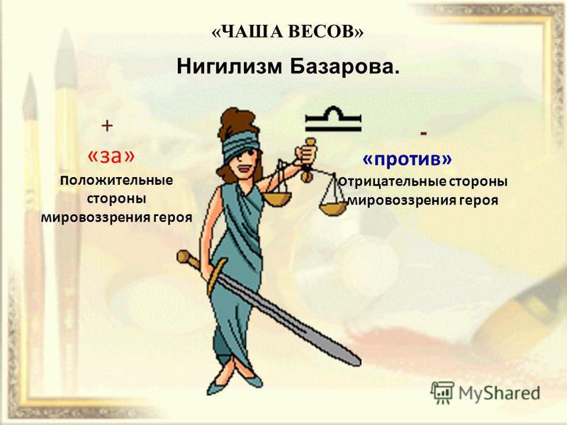 Нигилизм Базарова. + «за» положительные стороны мировоззрения героя - «против» отрицательные стороны мировоззрения героя «ЧАША ВЕСОВ»