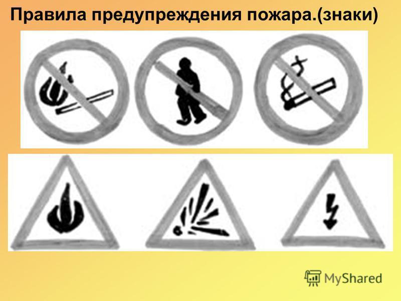 Правила предупреждения пожара.(знаки)