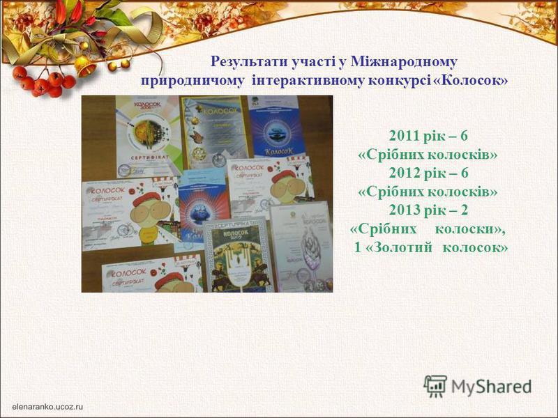 Результати участі у Міжнародному природничому інтерактивному конкурсі «Колосок» 2011 рік – 6 «Срібних колосків» 2012 рік – 6 «Срібних колосків» 2013 рік – 2 «Срібних колоски», 1 «Золотий колосок»