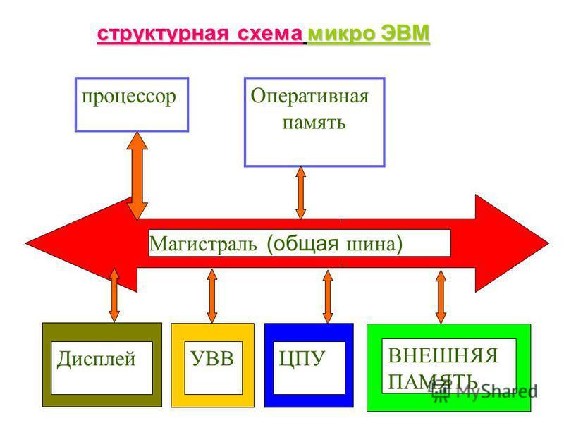 Магистраль (общая шина ) процессор Оперативная память ДисплейУВВЦПУ ВНЕШНЯЯ ПАМЯТЬ структурная схема микро ЭВМ