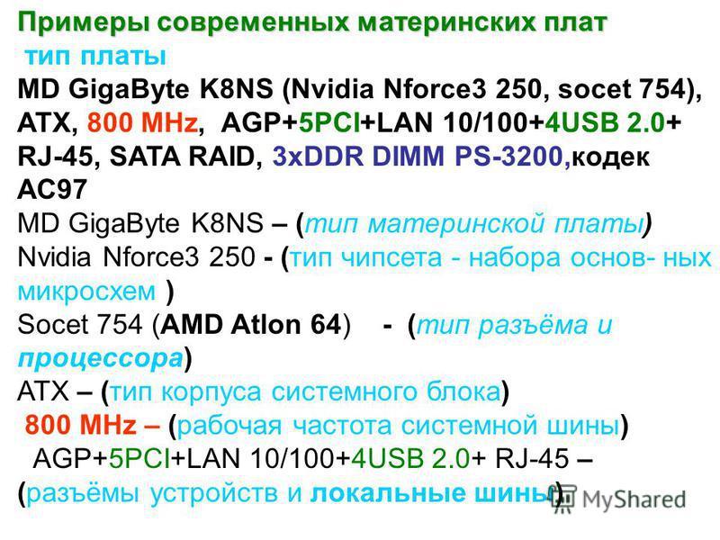 Примеры современных материнских плат тип платы MD GigaByte K8NS (Nvidia Nforce3 250, socet 754), ATX, 800 MHz, AGP+5PCI+LAN 10/100+4USB 2.0+ RJ-45, SATA RAID, 3xDDR DIMM PS-3200,кодек АС97 MD GigaByte K8NS – (тип материнской платы) Nvidia Nforce3 250