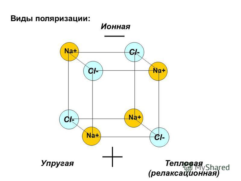 Виды поляризации: Ионная Упругая Тепловая (релаксационная) Na+ Cl-