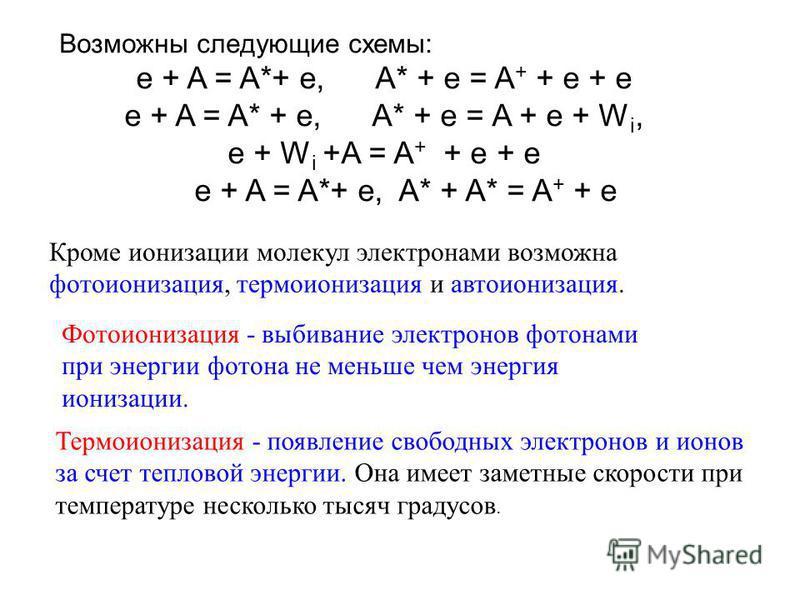 Возможны следующие схемы: e + A = A*+ e, A* + e = A + + e + e e + A = A* + e, A* + e = A + e + W i, e + W i +A = A + + e + e e + A = A*+ e, A* + A* = A + + e Кроме ионизации молекул электронами возможна фотоионизация, термоионизация и автоионизация.
