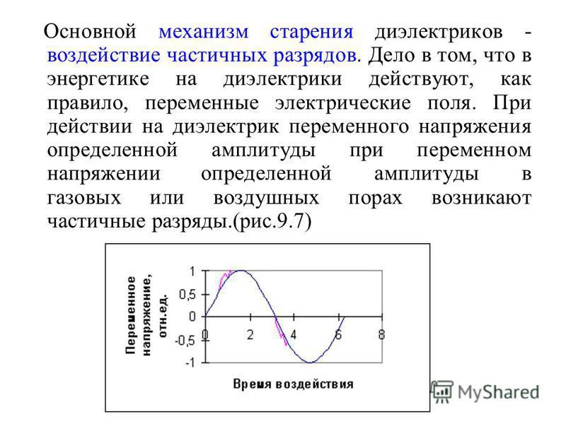 Основной механизм старения диэлектриков - воздействие частичных разрядов. Дело в том, что в энергетике на диэлектрики действуют, как правило, переменные электрические поля. При действии на диэлектрик переменного напряжения определенной амплитуды при