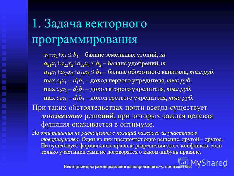 Векторное программирование в планировании с.-х. производства 3 1. Задача векторного программирования x 1 +x 2 +x 3 b 1 – баланс земельных угодий, га a 21 x 1 +a 22 x 2 +a 22 x 3 b 2 – баланс удобрений, т a 31 x 1 +a 32 x 2 +a 33 x 3 b 3 – баланс обор