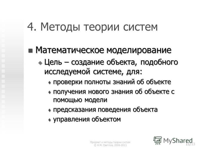 4. Методы теории систем Математическое моделирование Математическое моделирование Цель – создание объекта, подобного исследуемой системе, для: Цель – создание объекта, подобного исследуемой системе, для: проверки полноты знаний об объекте проверки по