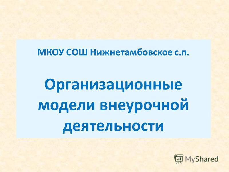 МКОУ СОШ Нижнетамбовское с.п. Организационные модели внеурочной деятельности