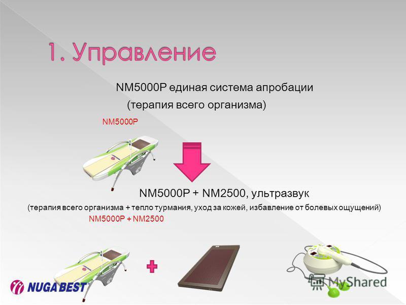 NM5000P единая система апробации (терапия всего организма) NM5000P NM5000P + NM2500, ультразвук (терапия всего организма + тепло турмания, уход за кожей, избавление от болевых ощущений) NM5000P + NM2500