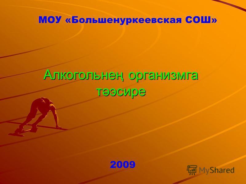 Алкогольнең организмга тәэсире МОУ «Большенуркеевская СОШ» 2009
