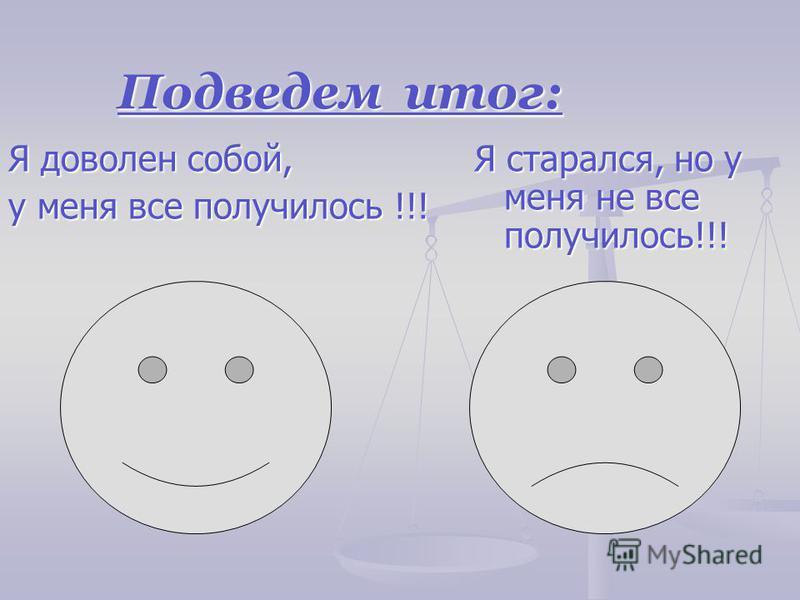 Подведем итог: Я доволен собой, у меня все получилось !!! Я старался, но у меня не все получилось!!!
