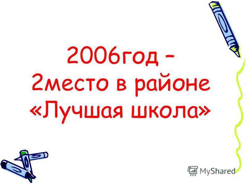 2006 год – 2 место в районе «Лучшая школа»