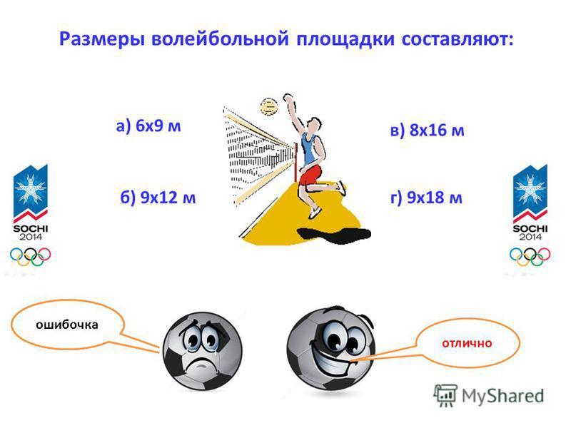 Размеры волейбольной площадки составляют: а) 6 х 9 м б) 9 х 12 м в) 8 х 16 м г) 9 х 18 м отлично ошибочка