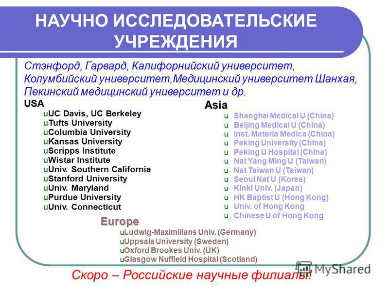 Asia u Shanghai Medical U (China) u Beijing Medical U (China) u Inst. Materia Medica (China) u Peking University (China) u Peking U Hospital (China) u Nat Yang Ming U (Taiwan) u Nat Taiwan U (Taiwan) u Seoul Nat U (Korea) u Kinki Univ. (Japan) u HK B