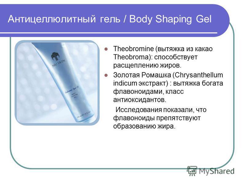 Антицеллюлитный гель / Body Shaping Gel Theobromine (вытяжка из какао Theobroma): способствует расщеплению жиров. Золотая Ромашка (Chrysanthellum indicum экстракт) : вытяжка богата флавоноидами, класс антиоксидантов. Исследования показали, что флавон