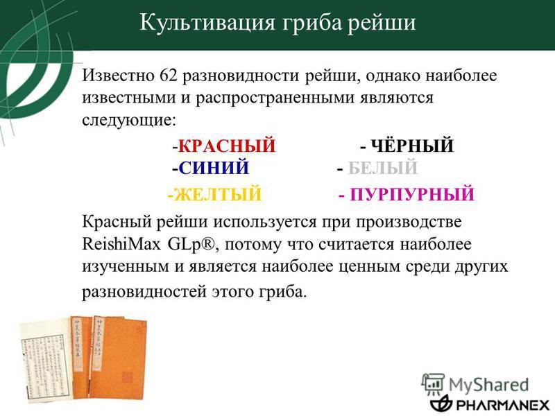 Культивация гриба рейши Известно 62 разновидности рейши, однако наиболее известными и распространенными являются следующие: -КРАСНЫЙ - ЧЁРНЫЙ -СИНИЙ - БЕЛЫЙ -ЖЕЛТЫЙ - ПУРПУРНЫЙ Красный рейши используется при производстве ReishiMax GLp®, потому что сч