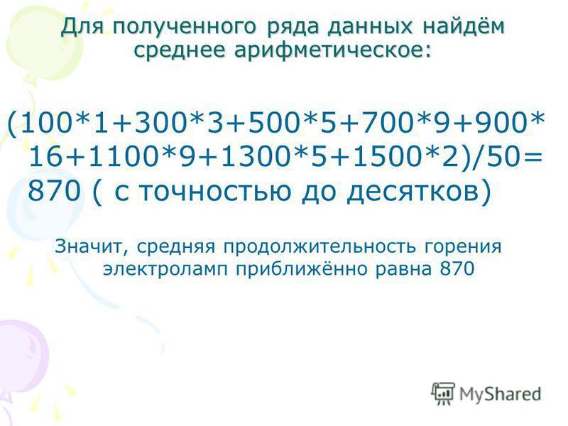 Для полученного ряда данных найдём среднее арифметическое: (100*1+300*3+500*5+700*9+900* 16+1100*9+1300*5+1500*2)/50= 870 ( с точностью до десятков) Значит, средняя продолжительность горения электроламп приближённо равна 870