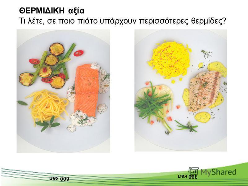 600 кал 300 кал ΘΕΡΜΙΔΙΚΗ αξία Τι λέτε, σε ποιο πιάτο υπάρχουν περισσότερες θερμίδες?