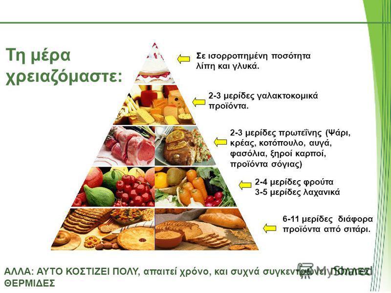 Τη μέρα χρειαζόμαστε: ΑΛΛΑ: ΑΥΤΟ ΚΟΣΤΙΖΕΙ ΠΟΛΥ, απαιτεί χρόνο, και συχνά συγκεντρώνει ΠΟΛΛΕΣ ΘΕΡΜΙΔΕΣ Σε ισορροπημένη ποσότητα λίπη και γλυκά. 2-3 μερίδες γαλακτοκομικά προϊόντα. 2-3 μερίδες πρωτεΐνης (Ψάρι, κρέας, κοτόπουλο, αυγά, φασόλια, ξηροί καρ