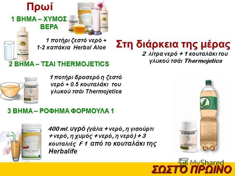 ΣΩΣΤΌ ΠΡΩΙΝΟ 1 ποτήρι ζεστό νερό + 1-2 καπάκια Herbal Aloe 1 ποτήρι δροσερό η ζεστό νερό + 0.5 κουταλάκι του γλυκού τσάι Thermojetics 400 ml. υγρό ( γάλα + νερό, η γιαούρτι + νερό, η χυμός + νερό, η νερό ) + 3 κουταλιές F 1 από το κουταλάκι της Herba