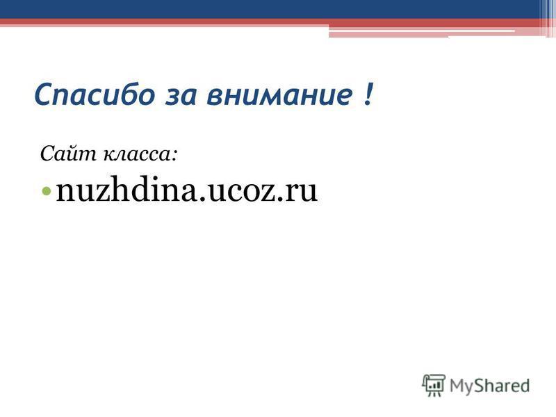 Спасибо за внимание ! Сайт класса: nuzhdina.ucoz.ru