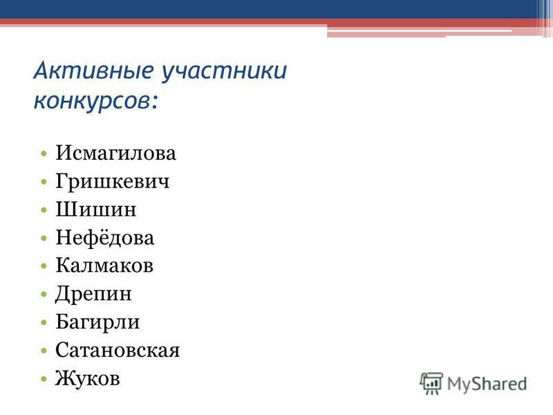 Активные участники конкурсов: Исмагилова Гришкевич Шишин Нефёдова Калмаков Дрепин Багирли Сатановская Жуков
