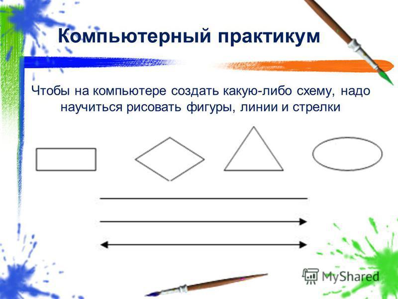 Чтобы на компьютере создать какую-либо схему, надо научиться рисовать фигуры, линии и стрелки Компьютерный практикум