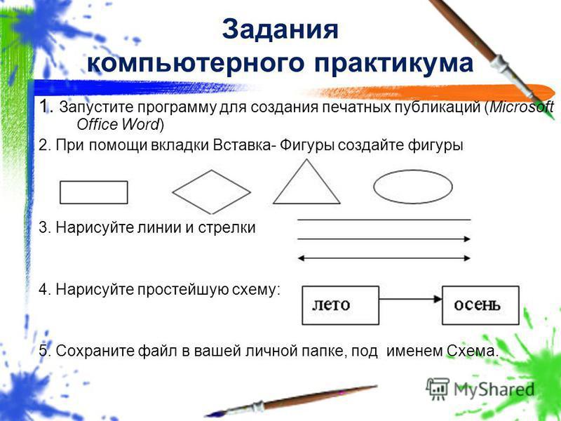 Задания компьютерного практикума 1. Запустите программу для создания печатных публикаций (Microsoft Office Word) 2. При помощи вкладки Вставка- Фигуры создайте фигуры 3. Нарисуйте линии и стрелки 4. Нарисуйте простейшую схему: 5. Сохраните файл в ваш